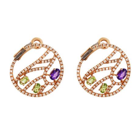 Damiani Battito D'Ali 18k Rose Gold Multi-Stone Earrings