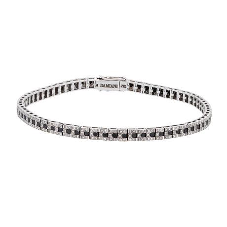 """Damiani // Belle Epoque 18k White Gold Diamond + Black Diamond Tennis Bracelet // 8"""""""