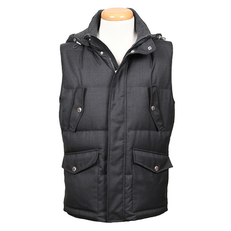 Alexander Wool Hooded Vest // Charcoal (XS)