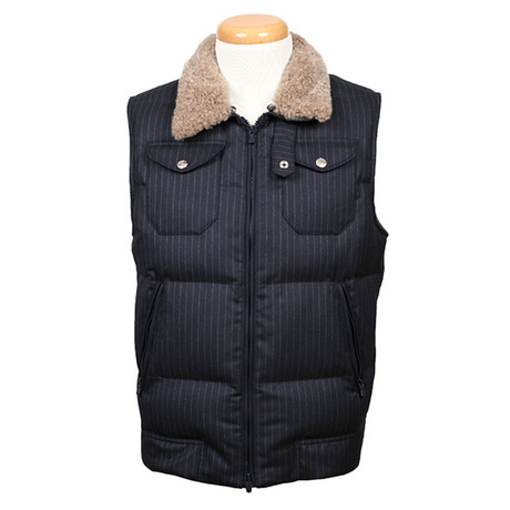 Caracalla Shearling Wool Collar Vest // Navy Blue (XS)