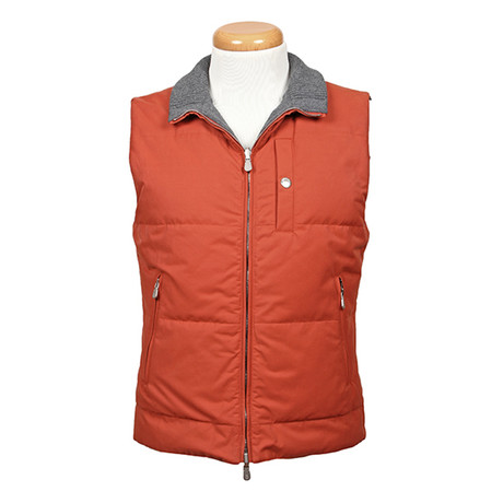 Septimius Reversible Cotton Vest // Orange + Gray (XS)