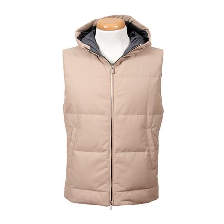 Pertinax Hooded Puffer Vest // Beige (XS)