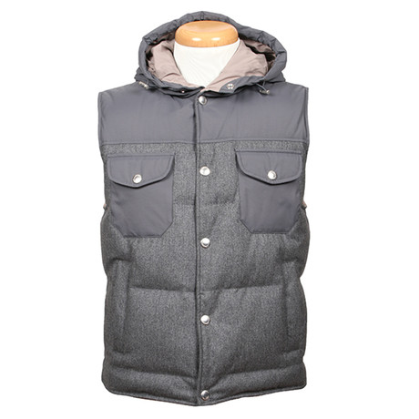 Galba Wool Blend Hooded Vest // Gray (XS)