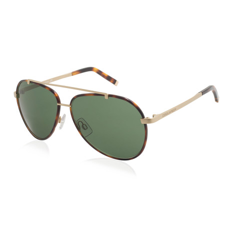 Dsquared2 // Aviator Sunglasses // Havana Gold + Green