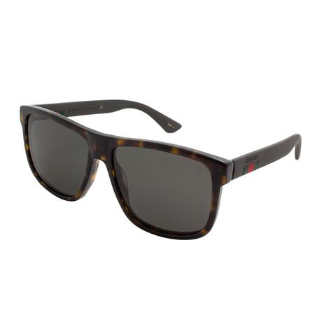 Gucci // Men's Polarized Wayfarer Sunglasses // Dark Havana + Polarized Gray