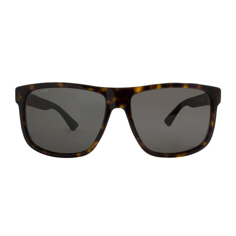 Gucci // Men's Polarized Wayfarer Sunglasses // Dark Havana + Polarized Gray