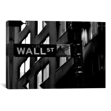 "Wall Street Sign // Unknown Artist (18""W x 12""H x 0.75""D)"