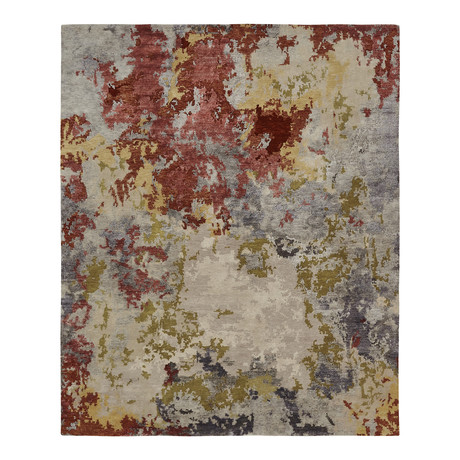 Aura // Crimson + Beige // Large (6' x 9')