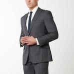 2BSV Peak Lapel Pick Stitch Suit Gray Brown Windowpane (US: 40L)