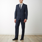 2BSV Notch Lapel Pick Stitch Suit  Navy Tartan Plaid (US: 36S)