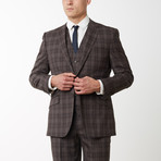 2BSV Notch Lapel Vested Suit  Brown Tartan Plaid (US: 40R)
