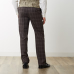 2BSV Notch Lapel Vested Suit  Brown Tartan Plaid (US: 36R)