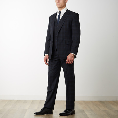 2BSV Notch Lapel Vested Suit Black Tartan Plaid (US: 36S)