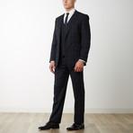 2BSV Notch Lapel Vested Suit Black Tartan Plaid (US: 36R)
