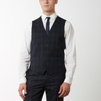 2BSV Notch Lapel Vested Suit Black Tartan Plaid (US: 40S)