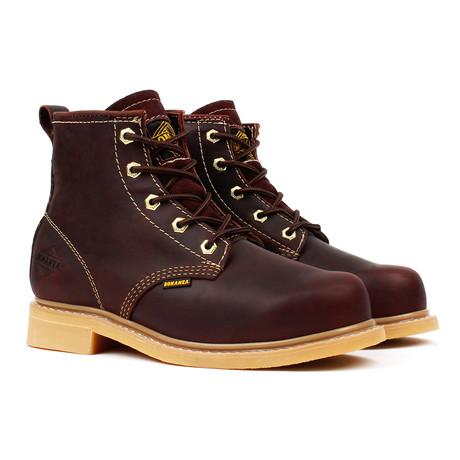 Plain Toe Work Boots // Burgundy (US: 5)