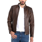 Omer Leather Jacket // Chestnut (XL)