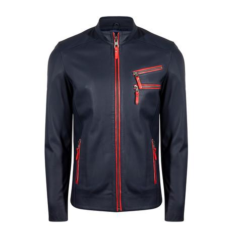 Umut Leather Jacket // Navy Blue (S)