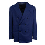 Pal Zileri // Plaid Wool Super 150'S Double Breasted Suit // Blue (Euro: 46)