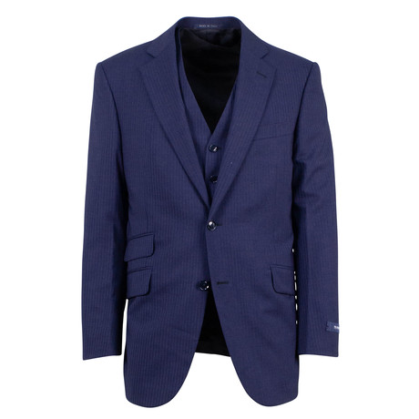 Pal Zileri // Wool 2 Button 3 Piece Suit // Navy Blue (Euro: 46)