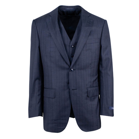 Pal Zileri // Striped Wool 2 Button Three Piece Suit // Blue (Euro: 46)