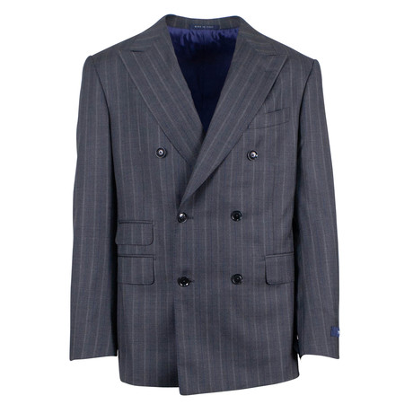 Pal Zileri // Striped Wool Double- Breasted Suit // Blue (Euro: 46)