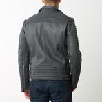 Mason + Cooper // Moto Leather Jacket // Grey (S)