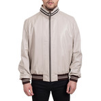Contrast Stripe Bomber Jacket // Beige + Brown (L)