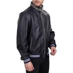 Contrast Stripe Bomber Jacket // Dark Blue + Beige (XS)