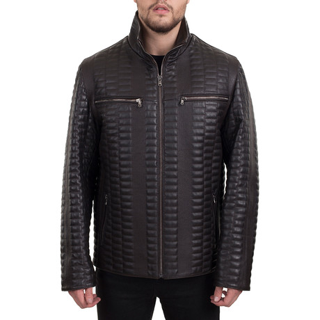 Textured Zip-Up Jacket // Dark Brown (XS)
