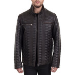 Textured Zip-Up Jacket // Dark Brown (L)