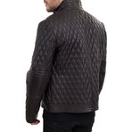 Contrast Stripe Bomber Jacket // Dark Brown (XS)
