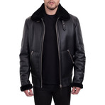 Faux Fur Aviator Trimmed Jacket // Black (L)