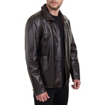 Zip-Up Stand Collar Jacket // Brown (3XL)