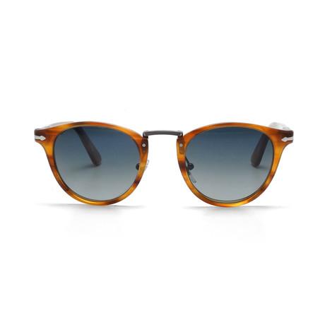 Acetate + Metal Sunglasses // Light Havana + Blue Gradient Polarized