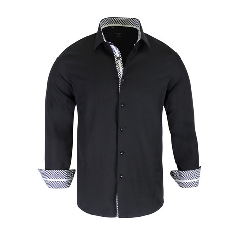 Joey True Modern-Fit Long-Sleeve Dress Shirt // Black (S)