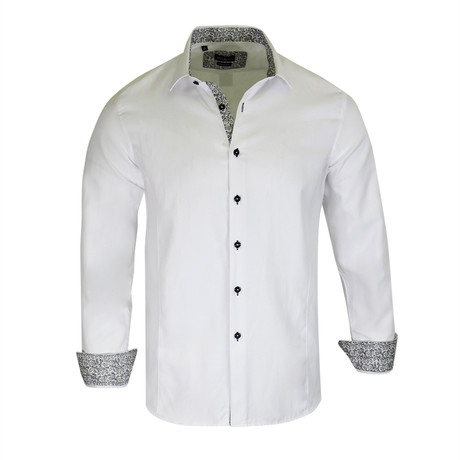 Ross True Modern-Fit Long-Sleeve Dress Shirt // White (S)