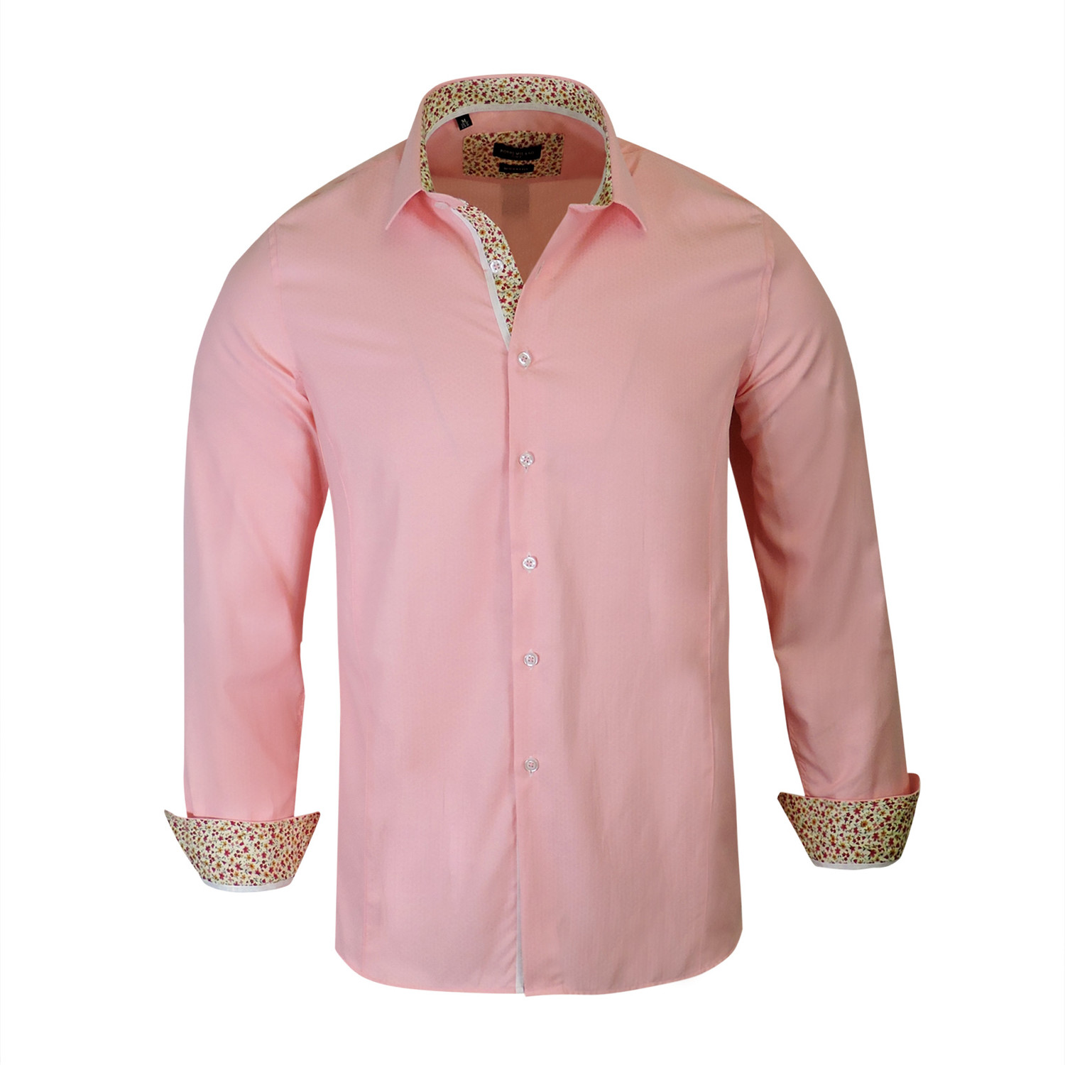 Ross True Modern Fit Long Sleeve Dress Shirt Coral S Rosso