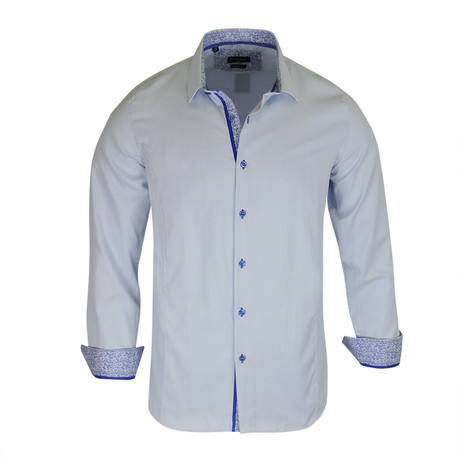 Ross True Modern-Fit Long-Sleeve Dress Shirt // Blue (S)