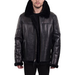 Faux Fur Trimmed Jacket // Black (XL)