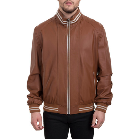 Contrast Stripe Bomber Jacket // Whiskey Beige (XS)
