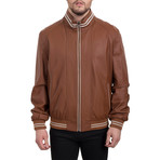 Contrast Stripe Bomber Jacket // Whiskey Beige (L)