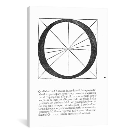 "O, illustration from 'Divina Proportione' // Luca Pacioli // Leonardo da Vinci (26""W x 18""H x 0.75""D)"