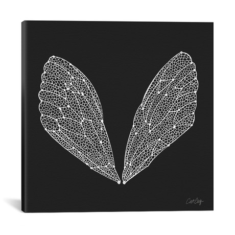 "Cicada Wings White Artprint // Cat Coquillette (18""W x 18""H x 0.75""D)"