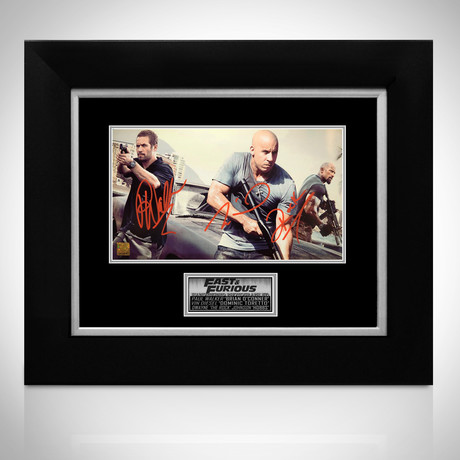 Fast & Furious // Paul Walker + Vin Diesel + Dwayne Johnson Signed Photo // Custom frame