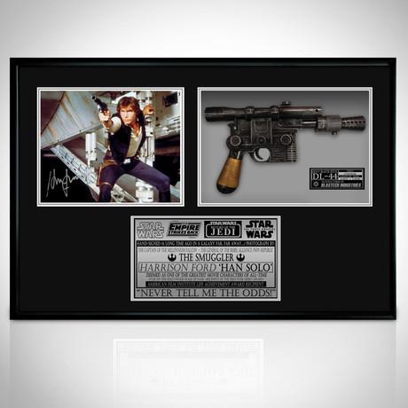 Star Wars Han Solo + Replica DL-44 // Harrison Ford Signed Photo // Custom Shadow Box Frame