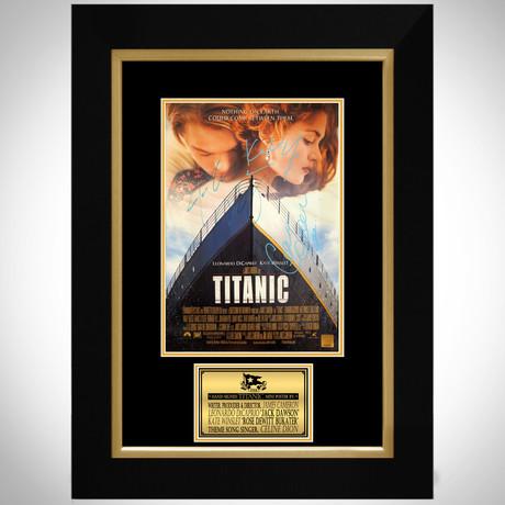 Titanic // Leonardo DiCaprio + Kate Winslet + James Cameron + Celine Dion Signed Photo // Custom Frame