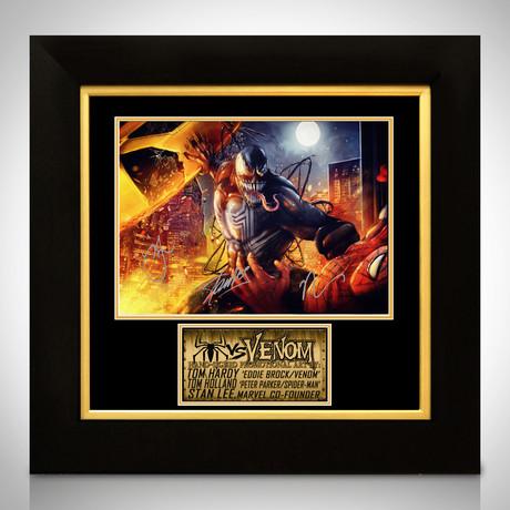 Venom Vs Spider-Man // Tom Holland, Tom Hardy + Stan Lee Signed Promo Art Photo // Custom Frame