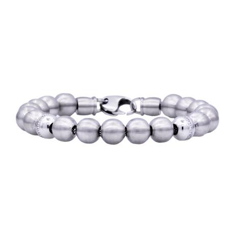 CZ Bead Bracelet // Silver Stainless Steel