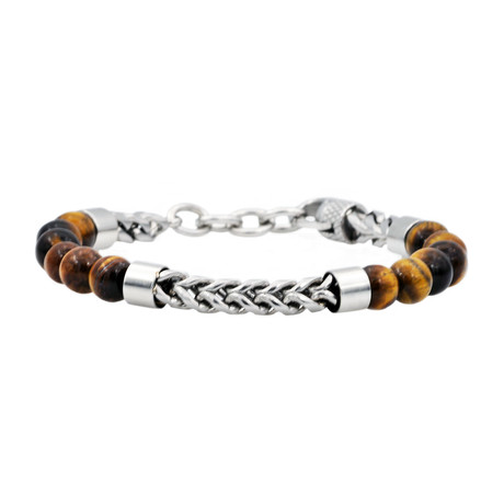 Franco Chain Bead Bracelet // Brown + Steel + Tiger's Eye